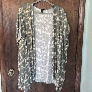 Green Print Short Sleeve Kimono